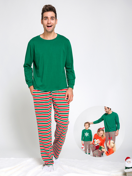 Casual Stripe & Print Family Matching Christmas Pajamas Outfits-Dad
