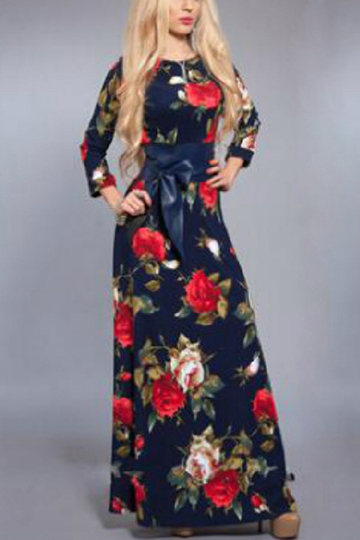 Random Floral Print Long Sleeves Maxi Dress with Belt