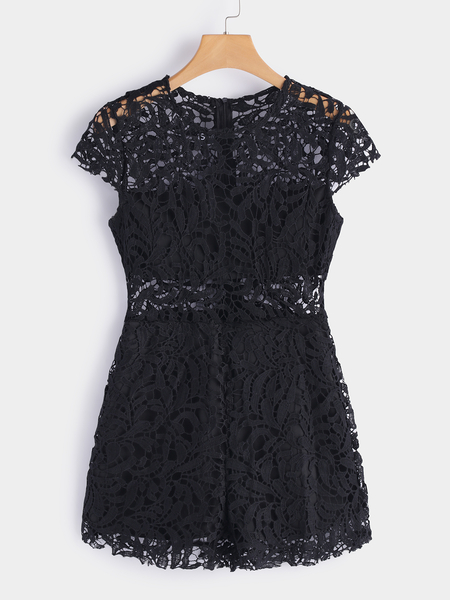 Black Lace Details Round Neck Short Sleeves Playsuit
