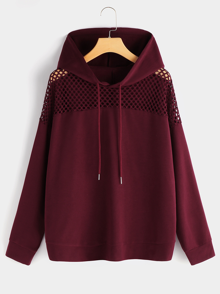 Plus Size Burgundy Hollow Out Hoodie