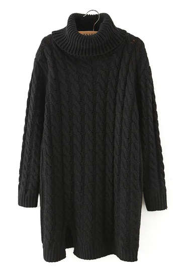 Cable Knit Long Sleeve Longline Sweater in Black