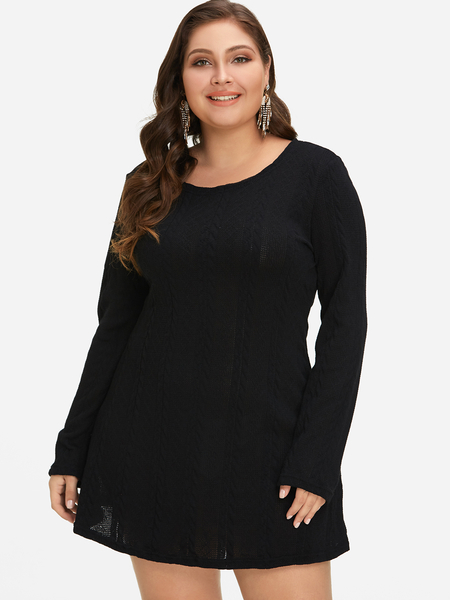Plus Size Black Plain Knit Mini Sweater Dress