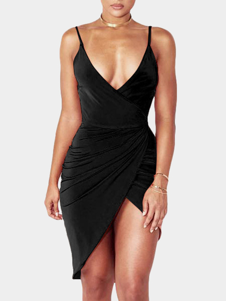 Black Spaghetti Deep V Neck Tulip Hem Dresses