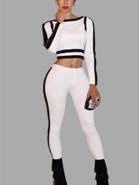 White & Black Zipper Long Sleeves Crop Top Stripe Suit