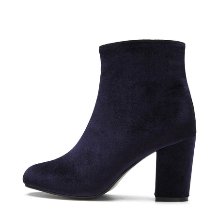 Navy Fashion Velvet Chunky Heels Short Boots