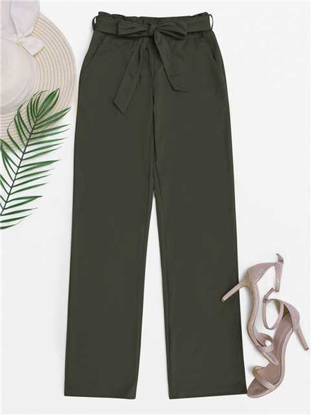 Army Green  Wide Leg High Waisted Pants with Belt