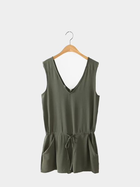 Olive Green V Neck Sleeveless Playsuit with Self-tie