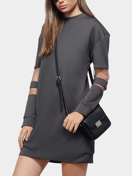 Mesh Insert Long Sleeve Sweatshirt Dress in Gray