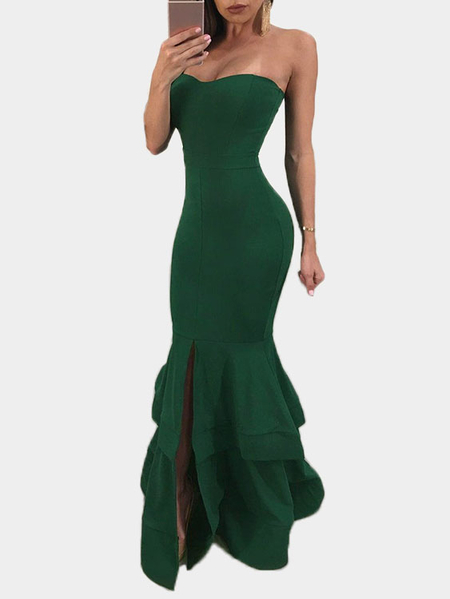 Green Splited Design Off The Shoulder Fishtail Maxi Dress
