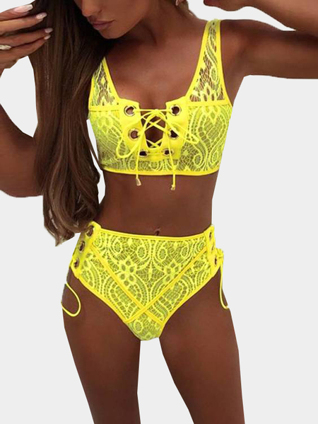 Yellow Lace-up Design Floral Lace Lingerie Set
