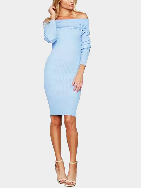 Blue Sexy Off-shoulder Over-layer Ribbed Midi Dress
