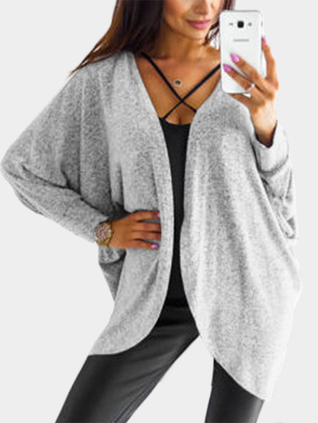 Grey Long Sleeves Irregular Hem Knitted Cardigan