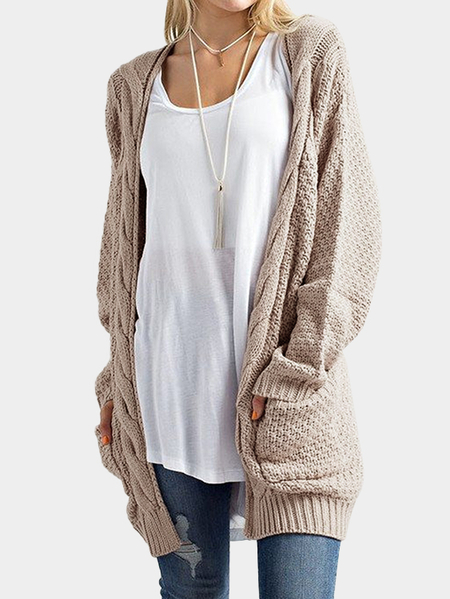 Khaki Open front Two Large Pockets Long Sleeves Cardigan