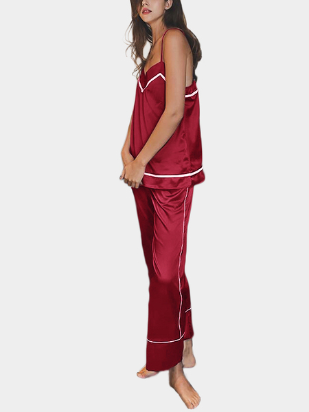 Burgundy V Neck & Sleeveless Pajamas Suit