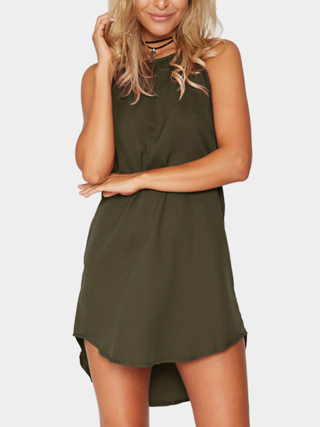 Army Green Simple sans manches Mini-robe