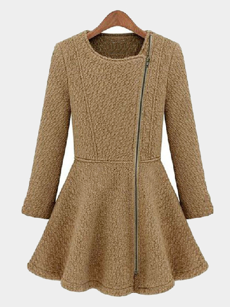Camel Flounced Hem Wool Duster Coat