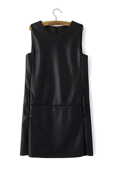 Black Sleeveless Leather Look Mini Dress