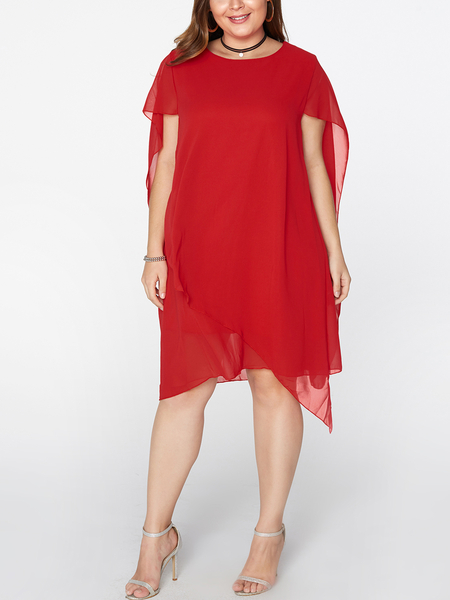 Red Round Neck Short Sleeves Irregular Hem Chiffon Dresses