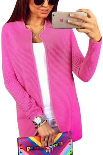 Rose gebogene Hem Long Sleeves Cardigan