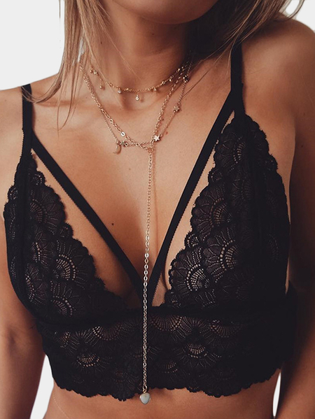 Black Sexy Sheer Lace Bralette Top