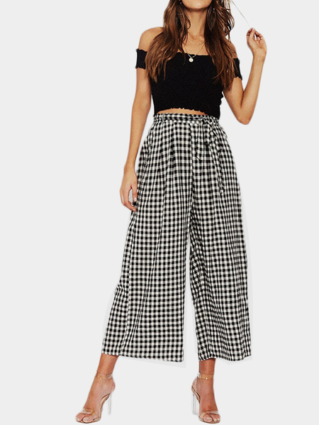 High Waisted Gingham Culottes with Belt