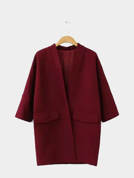 V-neck Trench Coat in Burgunndy