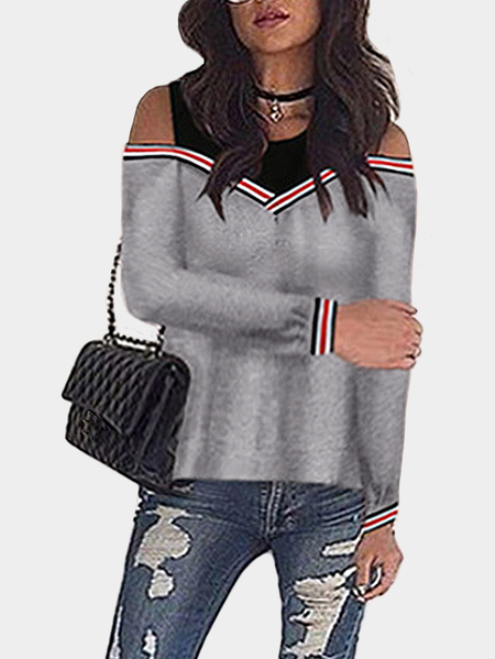 Grey Contrast Design Cold Shoulder Jumper