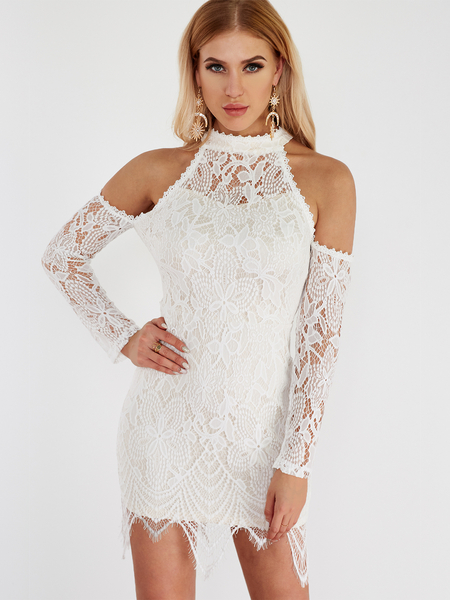 White Round Neck Cold Shoulder Lace Mini Dress
