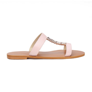 Pink Leather Look Embellished Flat Slippers