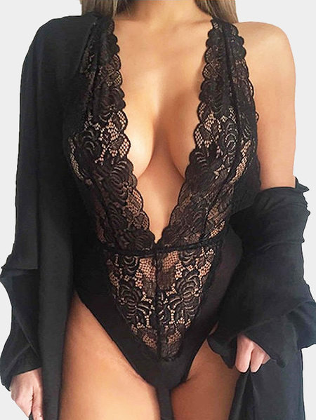 Deep V-neck Sleeveless Lace Bodysuits in Black
