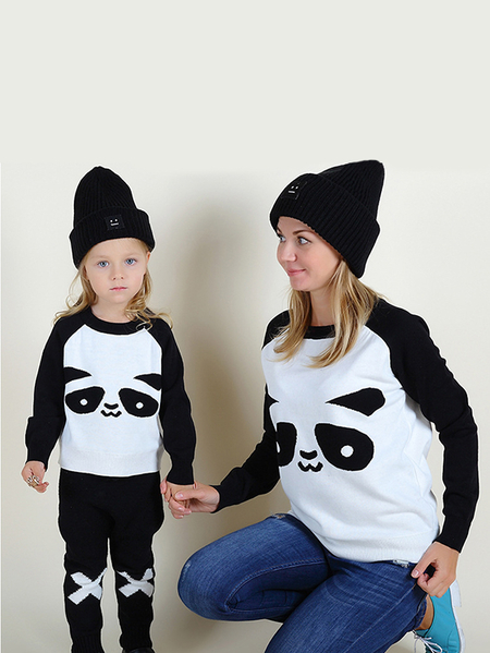 Animal Pattern Matching Sweatshirts in Black and White