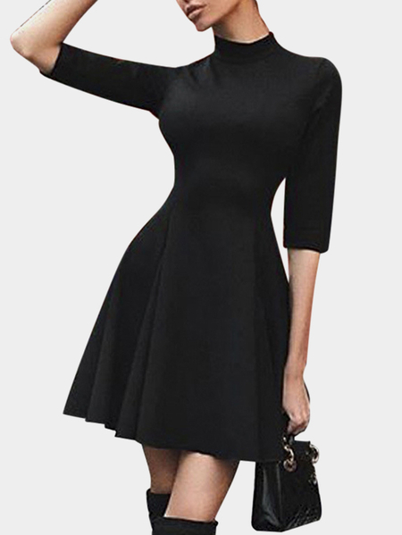 Black Zip Design Perkins Collar 3/4 Length Sleeves High-waisted Ruffle Hem Dress