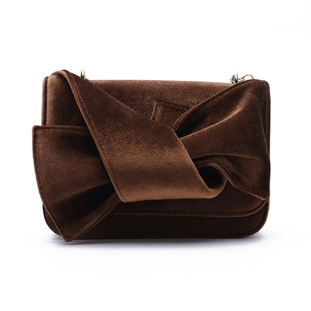 Brown Bowknot Design  Acrossbody Bags with Chain Strap