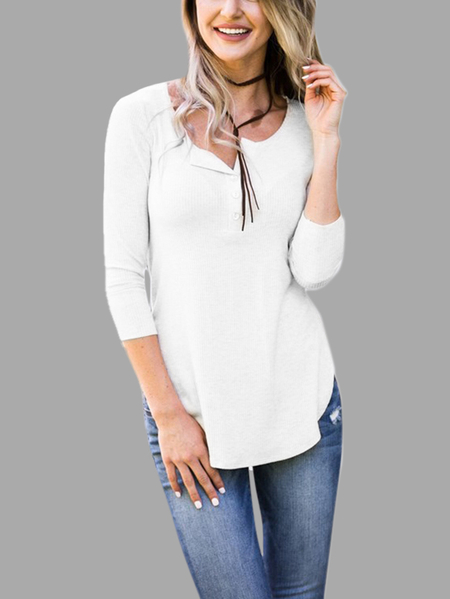 Casual White Button Curved Hem T-shirt