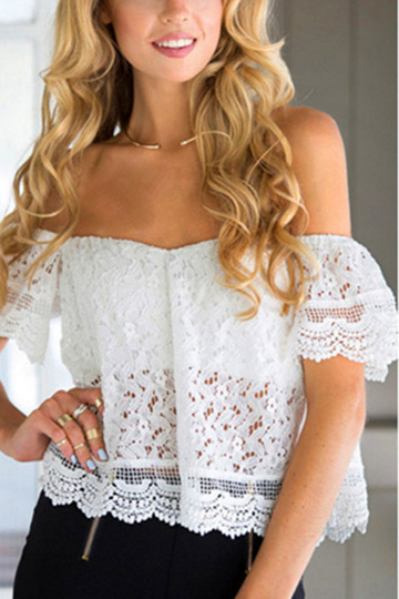 White Sexy Off Shoulder Lace Details Blouse
