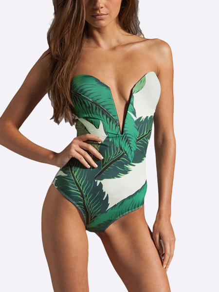 Random Floral Print Deep V-neck Tube Swimsuit