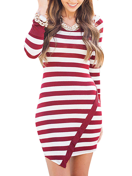 Sexy Round Neck Bodycon Slit Stripe Mini Dress