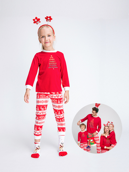 Red Letter Tree Pattern Family Matching Christmas Pajamas Sets-Kid