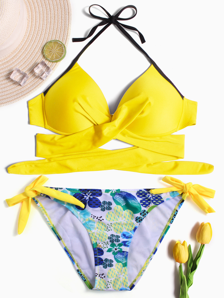 Yellow Halter Crossed Front Lace-up Design Bikini