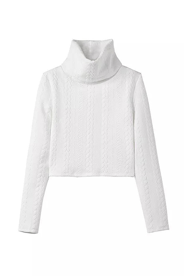 White High Neck Knitted Crop Sweater