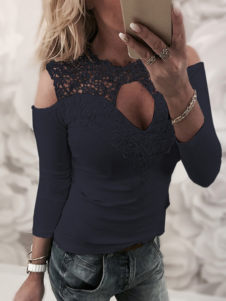 Navy Lace Details Plain Cold Shoulder Long Sleeves T-shirts