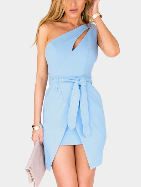 One Shoulder Irregular Hem Mini Dress with Belt