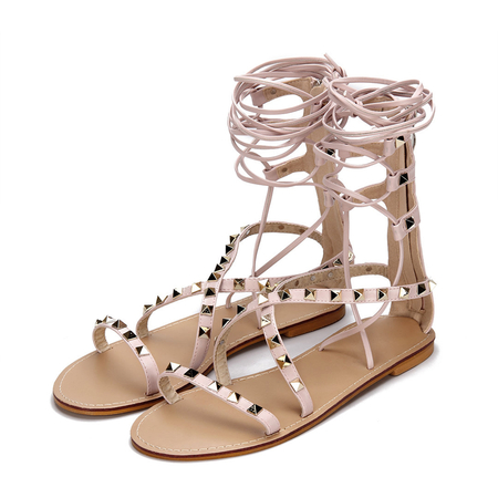 Pink Gold-tone Studding Lace-up Zip Back Closure Flat Gladiator Sandals