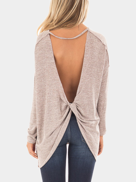 Beige Two Tone Open Twisted Back T-shirts