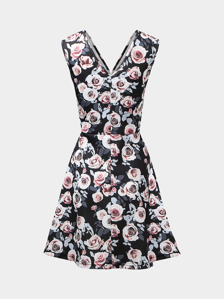 Sleeveless V Neck Dress in Rose Print