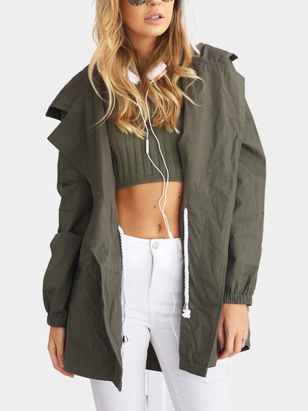 Fashion Army Green Drawstring Waist Jacket