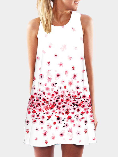 Sleeveless Random Floral Print Round Collar Mini Dress
