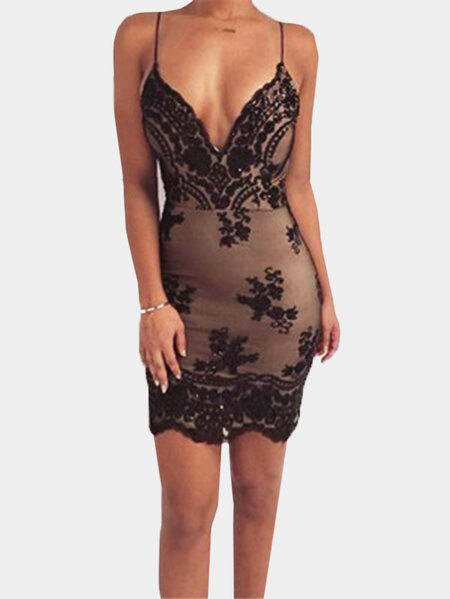 Black Sequins Embellished Deep V-neck Spaghetti High Waist Sexy Dress