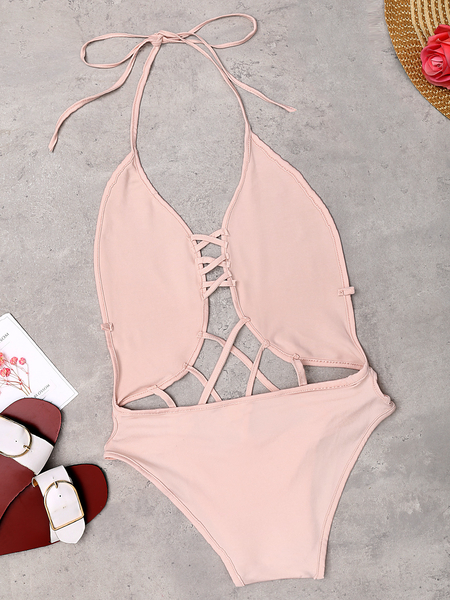 Sexy Pink Hollow Strappy Design Wireless Swimwear