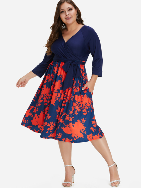 Plus Size Floral Print Self-tie Pocket Midi Dress